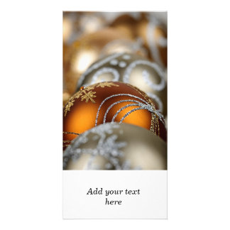 Gold Christmas ornaments closeup Personalized Photo Card