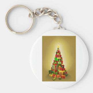 Gold Christmas present tree Illustration Key Chains