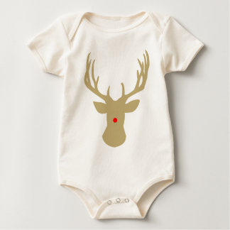 Gold Christmas reindeer with a red nose by redcow Baby Bodysuit