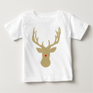 Gold Christmas reindeer with a red nose by redcow Baby T-Shirt