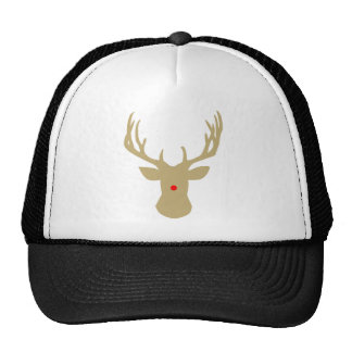 Gold Christmas reindeer with a red nose by redcow Trucker Hat