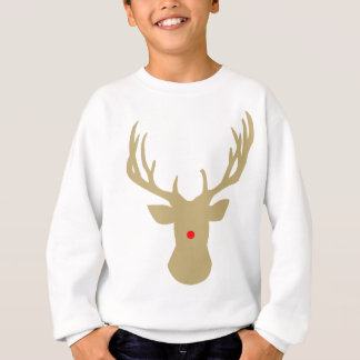 Gold Christmas reindeer with a red nose by redcow Sweatshirt