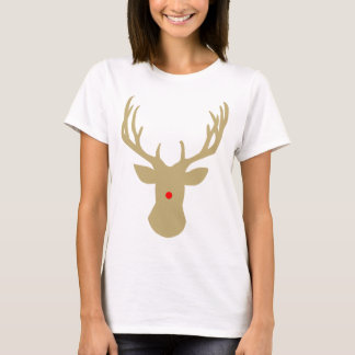 Gold Christmas reindeer with a red nose by redcow T-Shirt