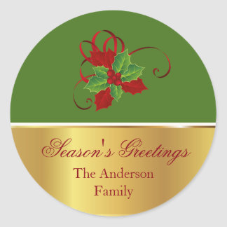Gold Christmas Season's Greetings Green Red Holly Classic Round Sticker