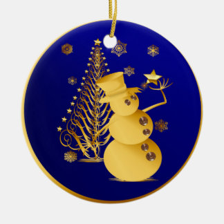 Gold Christmas Snowman and Star Tree Ceramic Ornament