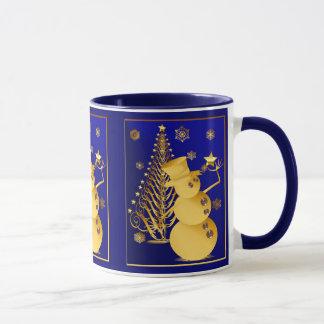 Gold Christmas Snowman and Star Tree Mug