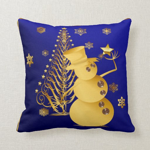 Gold Christmas Snowman and Star Tree Throw Pillow