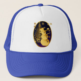 Gold Christmas Snowman and Star Tree Trucker Hat