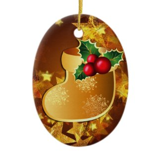 gold christmas stocking ornament ornament