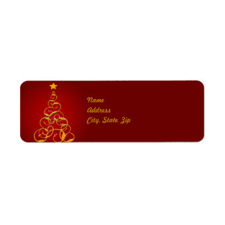 Gold Christmas Tree Address Label Template