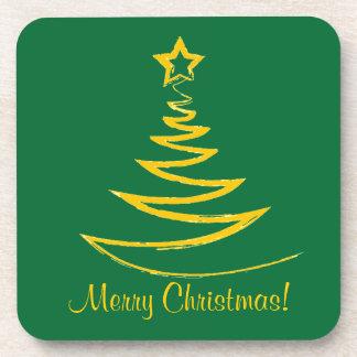 Gold Christmas Tree Cork Coaster
