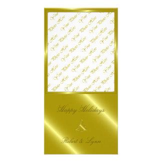 Gold Christmas Tree Embossed Greetings Card