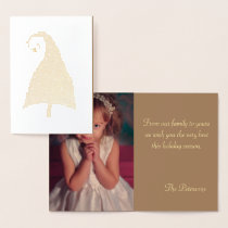 Gold Christmas Tree Family Photo Foil Card