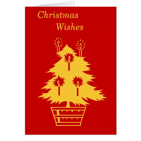 gold Christmas tree graphic design contemporary Card