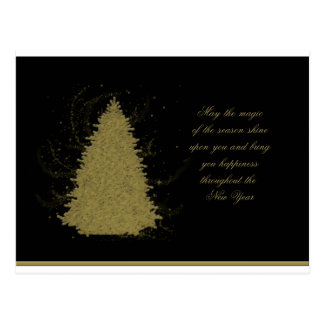 Gold christmas Tree on Black Postcard