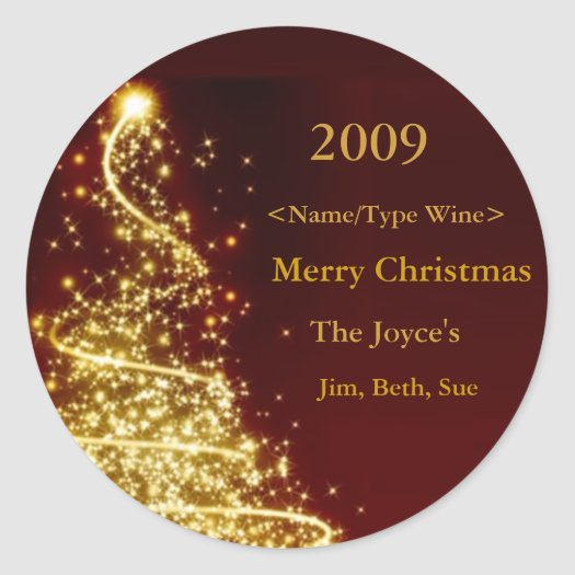Gold Christmas Tree on Red Background Wine Label stickers