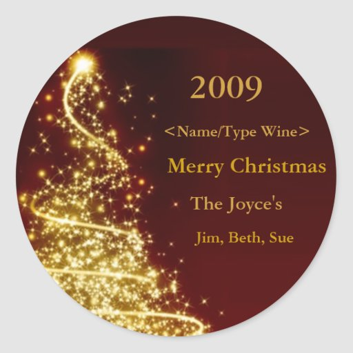 Gold Christmas Tree on Red Background Wine Label Classic Round Sticker