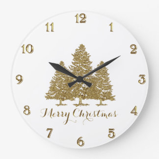 Gold Christmas Tree Round Wall Clock