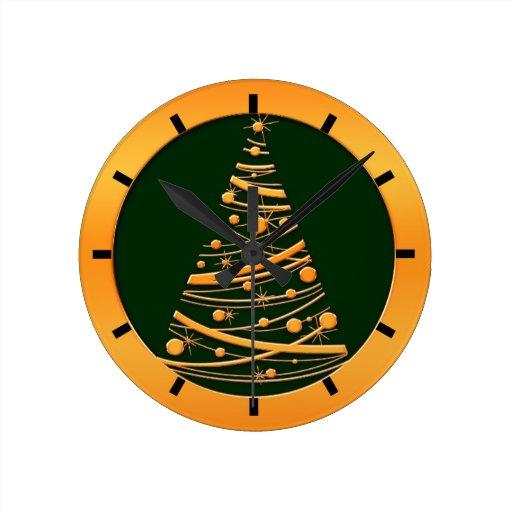 Gold Christmas Tree Round Wallclock