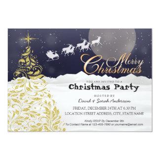 Gold Christmas Tree & Santa Sleigh Reindeer Party Card