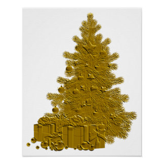 Gold Christmas Tree with Gifts Poster