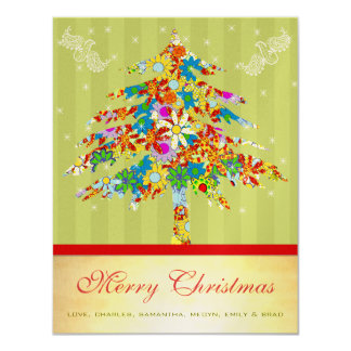 Gold Christmas Tree with Stars Card