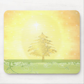 Gold Christmas Tree with Stars Mouse Pad