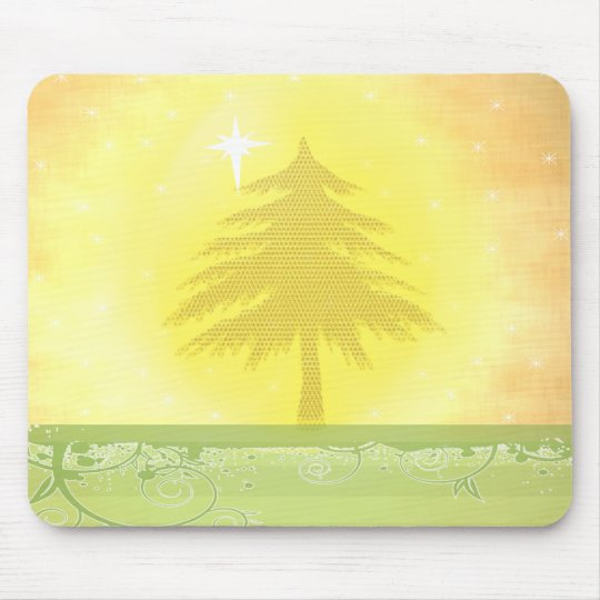 Gold Christmas Tree with Stars Mousepad