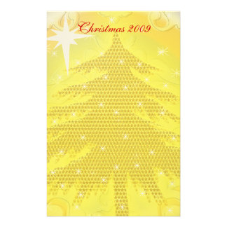 Gold Christmas Tree with Stars Stationery