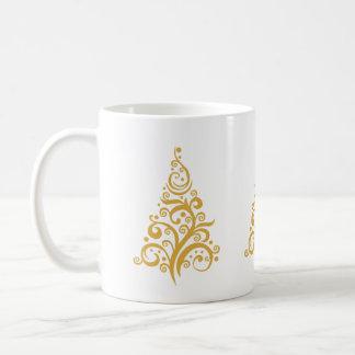 Gold Christmas Tree with Swirls Mug
