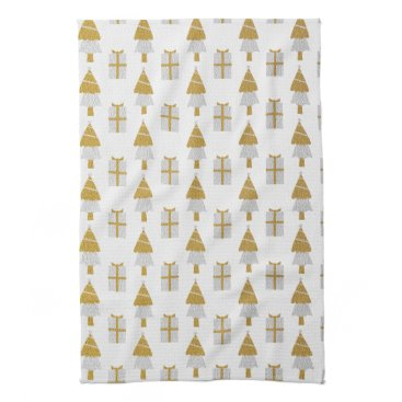 Christmas Themed Gold Christmas Trees and Presents Kitchen Towel