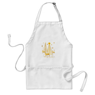 Gold Christmas Trees and Reindeer Adult Apron
