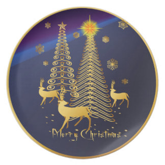 Gold Christmas Trees and Reindeer Dinner Plate