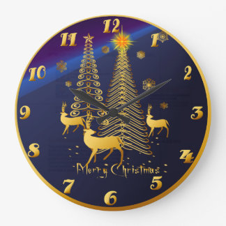 Gold Christmas Trees and Reindeer Large Clock