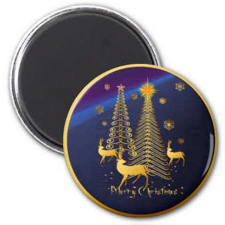 Gold Christmas Trees and Reindeer Fridge Magnet