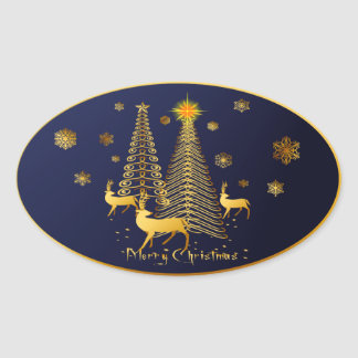Gold Christmas Trees and Reindeer Oval Sticker
