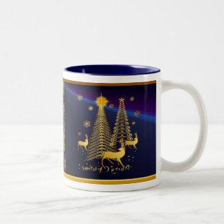 Gold Christmas Trees and Reindeer Two-Tone Coffee Mug