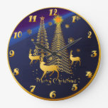 Gold Christmas Trees and Reindeer Wall Clock