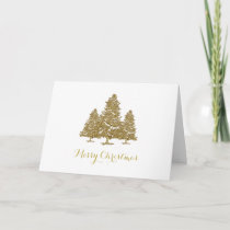 Gold Christmas Trees Merry Christmas Card