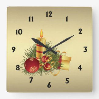 Gold Christmas with Black Numbers Square Wall Clocks