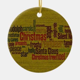 Gold Christmas Word Cloud Ceramic Ornament