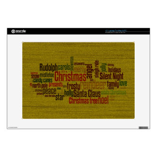 Gold Christmas Word Cloud Laptop Decals