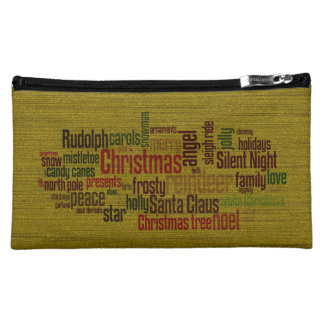 Gold Christmas Word Cloud Makeup Bags