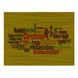 Gold Christmas Word Cloud Postcard