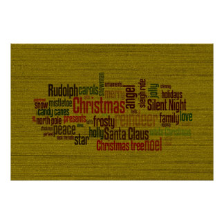 Gold Christmas Word Cloud Posters