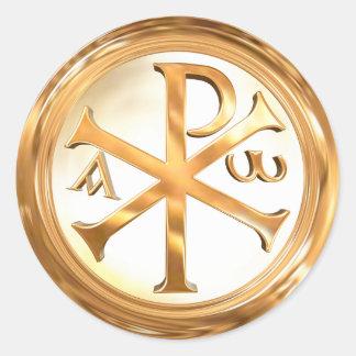 Gold Christogram Classic Round Sticker