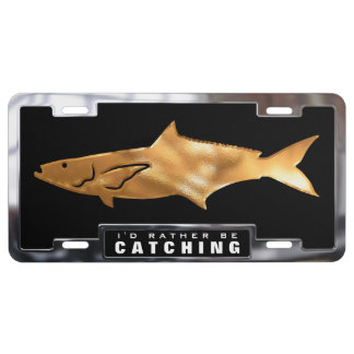 Gold & Chrome (faux) Cobia Fish with Frame License Plate