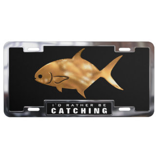 Gold & Chrome (faux) Pompano Fish with Frame License Plate