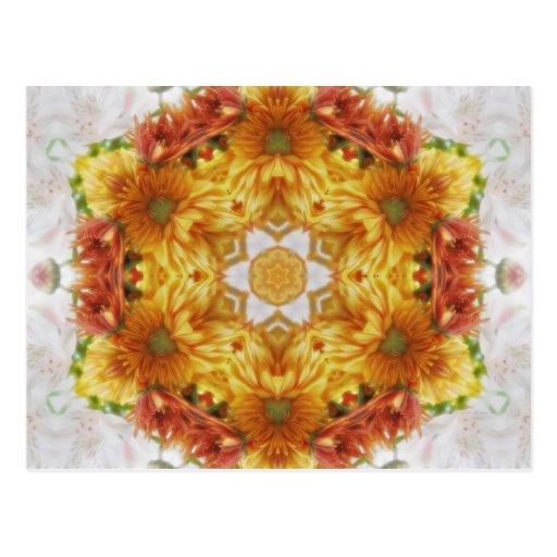 Gold Chrysanthemum Kaleidoscope Art 2 Postcard