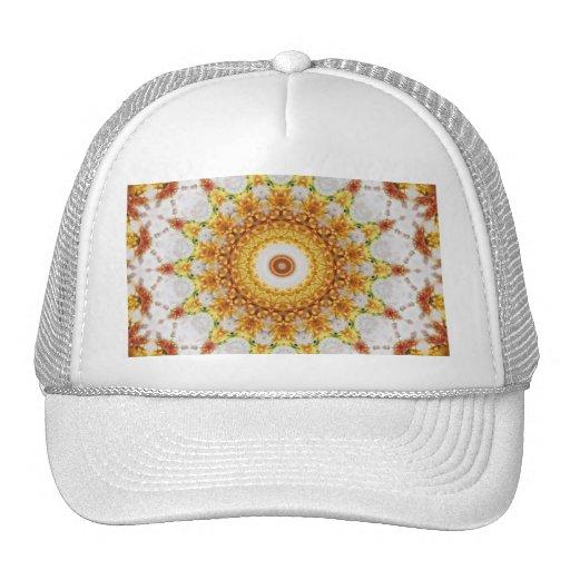 Gold Chrysanthemum Kaleidoscope Art 3 Trucker Hat